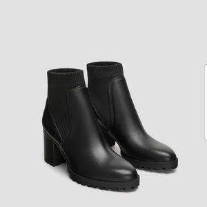 Zara black lug sole sock ankle boots 36